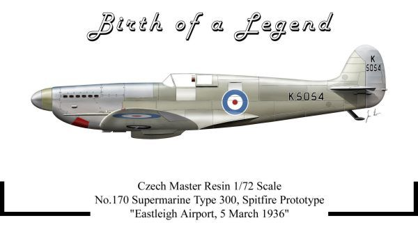 Czech Master Resin 1/72 'Birth of a Legend' Supermarine Spitfire Type 300 Prototype # 170