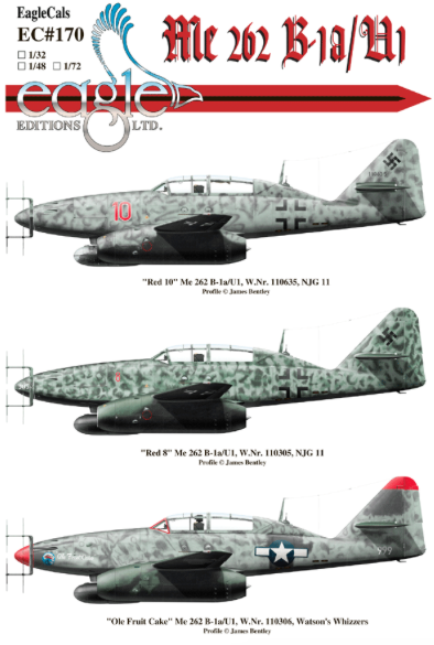 Eagle Cal 1/72 Messerschmitt Me-262B-1A/U1 Nightfighters of NJG 11 # 72170