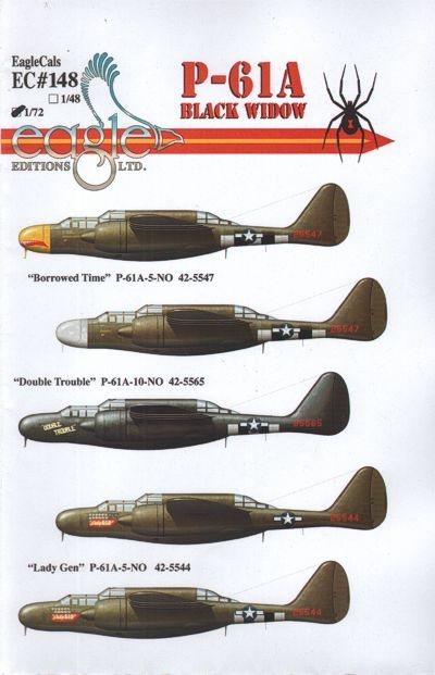 Eagle Cal 1/72 P-61A Black Widow # 72148
