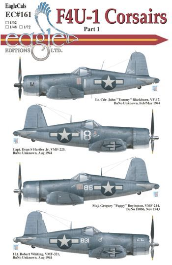 Eagle Cal 1/72 Vought F4U-1 Corsairs # 72161