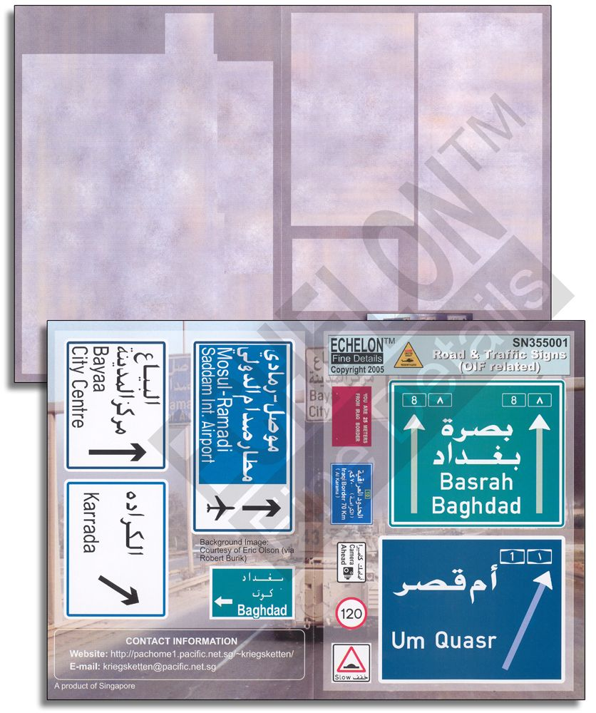 Echelon FD 1/35 Iraq Road & Traffic Signs (OIF related) # SN355001