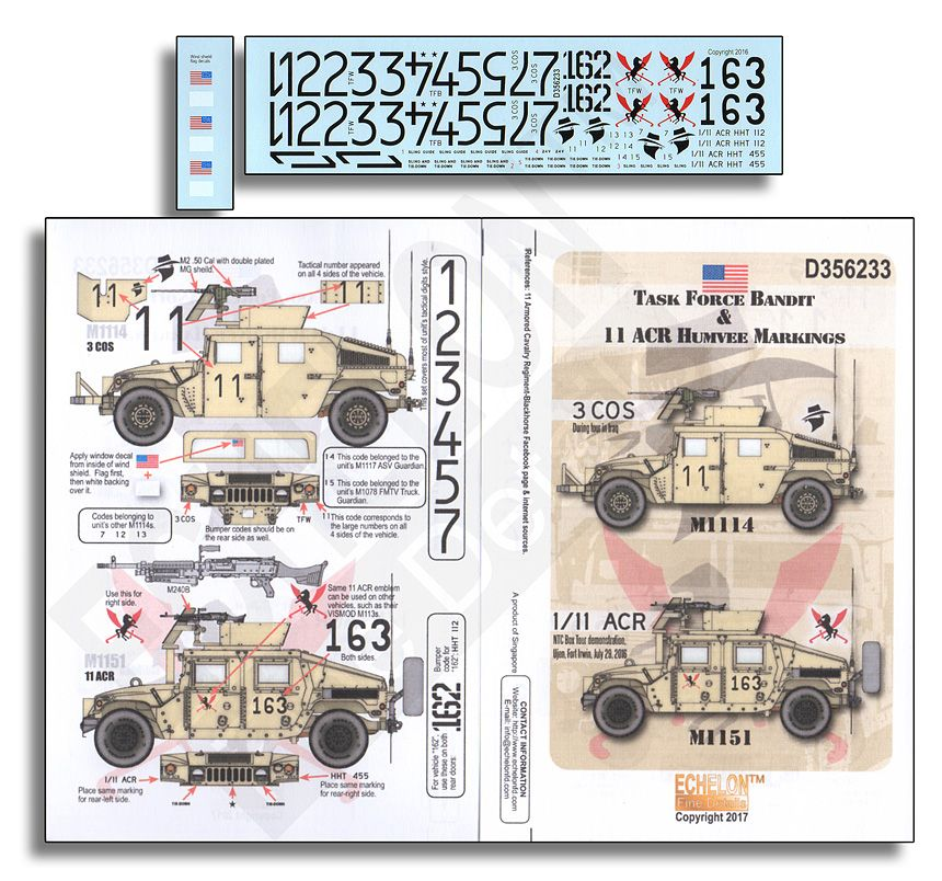 Echelon FD 1/35 Task Force Bandit & 11 ACR Humvee Markings # D356233