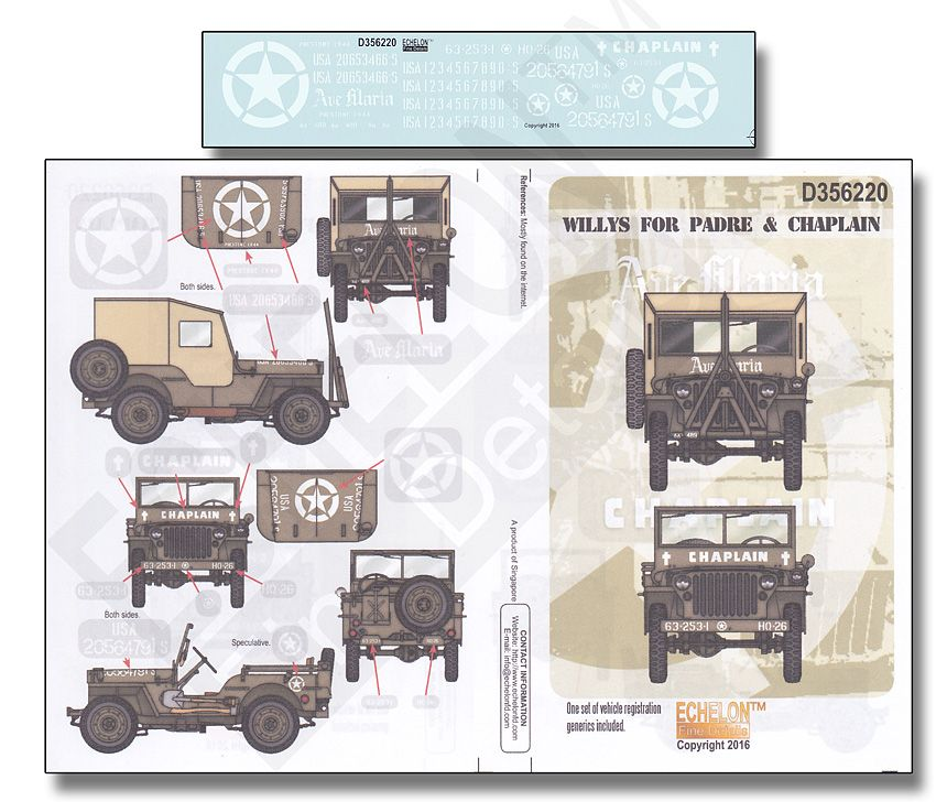 Echelon FD 1/35 Willys for Padre & Chaplain # D356220