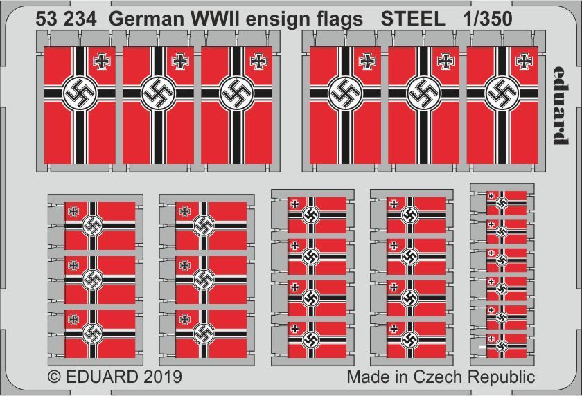 Eduard 1/350 German WWII Ensign Flags STEEL # 53234