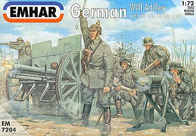Emhar 1/72 WWI German Artillery with 96 n/A 76mm Gun # 7204