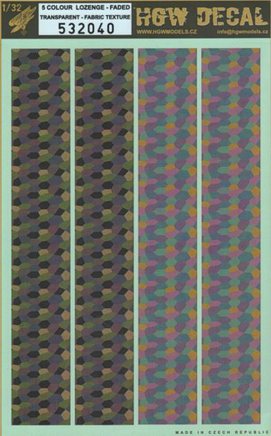 HGW 1/32 5 Colour Lozenge - Faded - Fabric Texture - Transparent # 532040