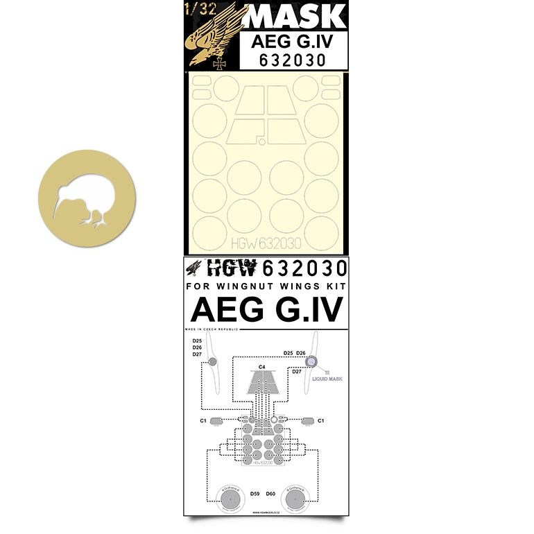 HGW 1/32 AEG G.IV Windscreen Paint Mask (Inside & Outside) # 632030