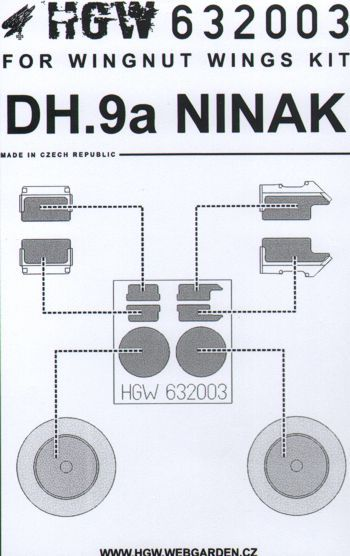 HGW 1/32 AirCo/de Havilland DH.9A NINAK Paint Mask # 632003
