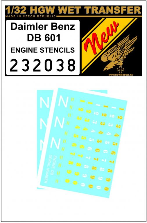 HGW 1/32 Daimler Benz 601 Engine - Stencils Wet Transfers # 232038