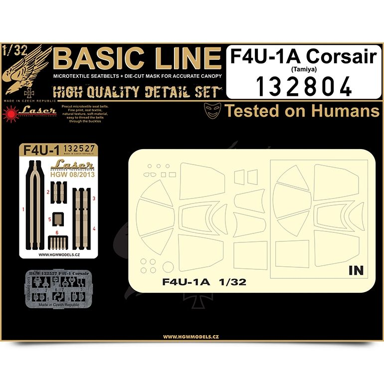 HGW 1/32 F4U-1 Corsair BASIC LINE: Seat Belts & Paint Masks # 132804