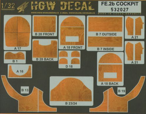HGW 1/32 Fe.2B Cockpit Wood Effect Side Panels # 532027