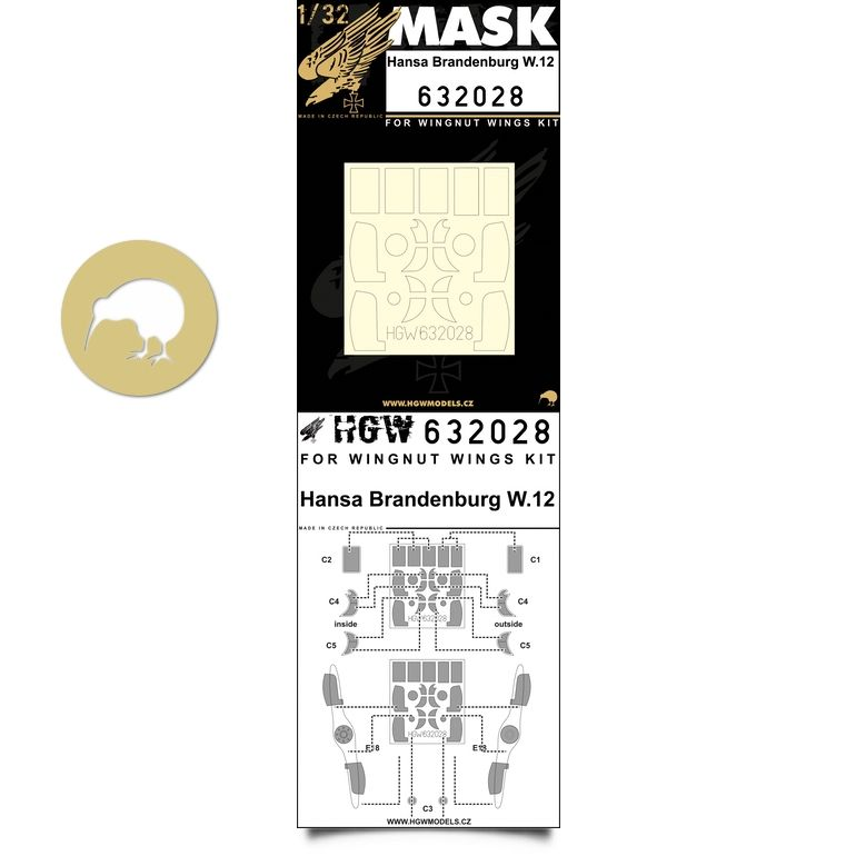 HGW 1/32 Hansa-Brandenburg W.12 Paint Mask # 632028