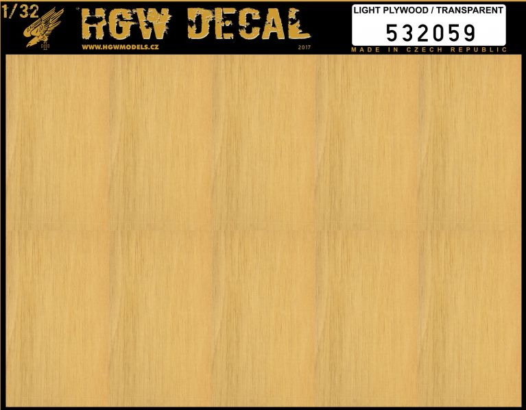 HGW 1/32 Light Plywood - Transparent - No Grid A5 # 532059