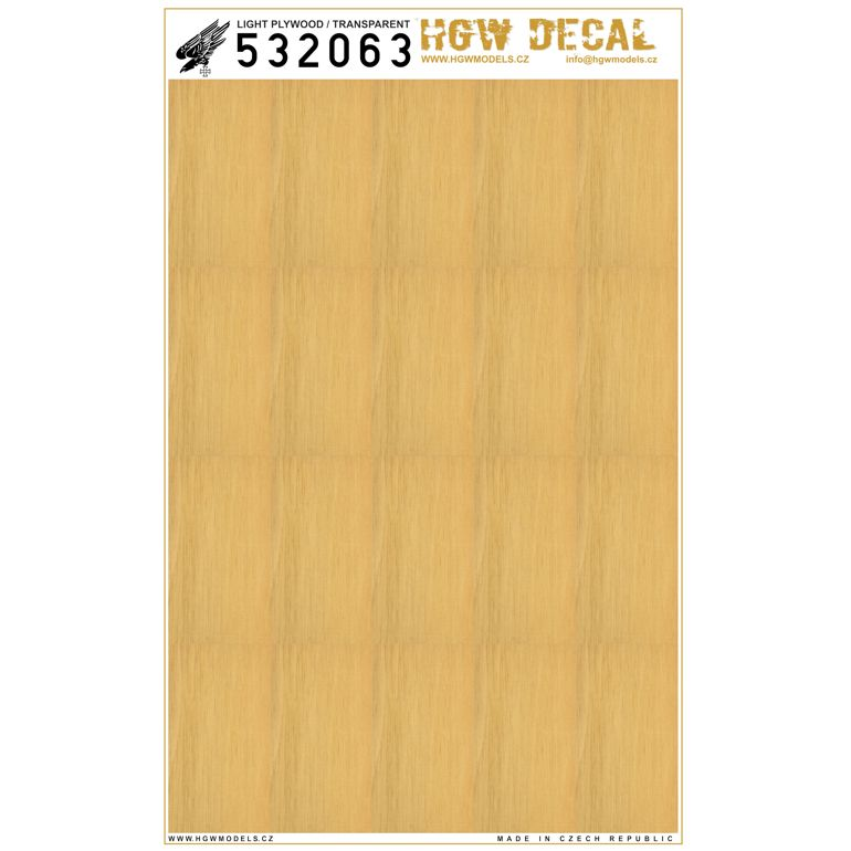 HGW 1/32 Light Plywood - Transparent - No Grid A5 # 532063