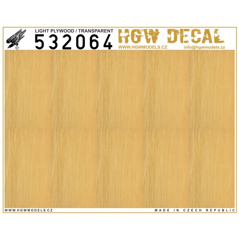 HGW 1/32 Light Plywood - Transparent - No Grid A5 # 532064