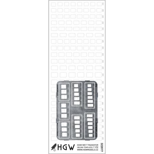 HGW 1/32 Oblong Templates Plus - Positive Rivets Set #322021