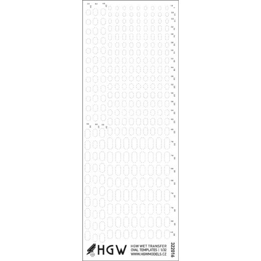 HGW 1/32 Oval Templates - Positive Rivets Set # 322016