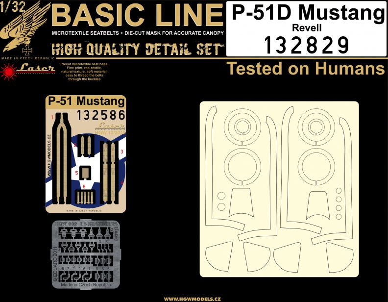 HGW 1/32 P-51D Mustang BASIC LINE: Seatbelts & Masks # 132829