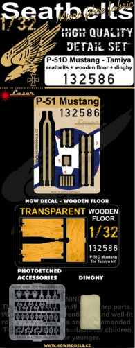 HGW 1/32 P-51D Mustang - Dingy, Wooden Floor Decal & Seat Belts # 132586