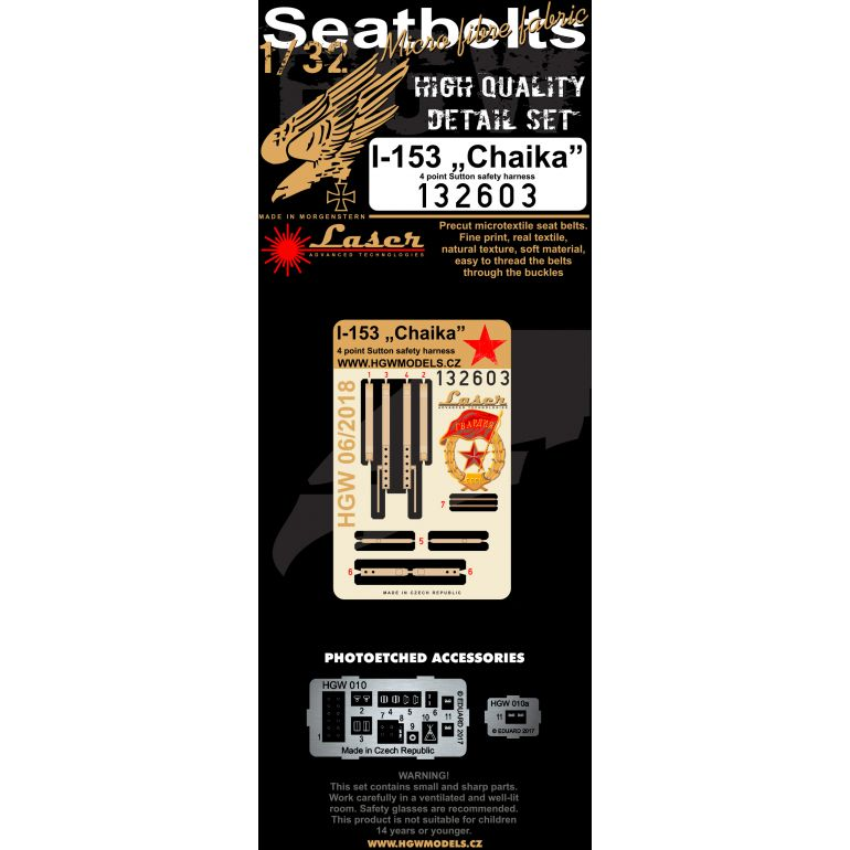 "HGW 1/32 Polikarpov I-153 ""Chaika"" - Seatbelts # 132603"