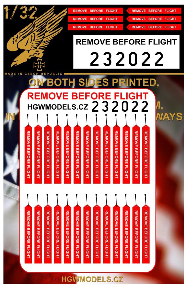 HGW 1/32 Remove Before Flight - U.S. Both Sides Printed # 232022