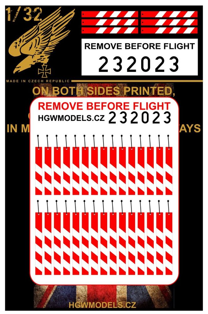 HGW 1/32 Remove Before Flight - UK both sides printed # 232023