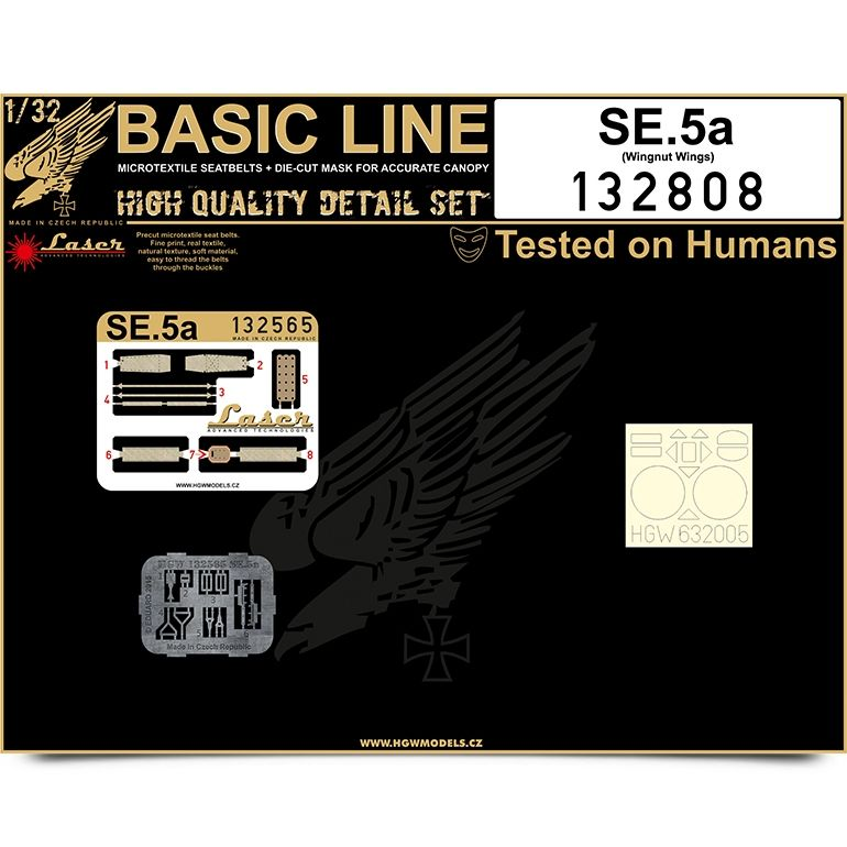 HGW 1/32 S.E.5a BASIC LINE: Seat Belts & Paint Masks # 132808