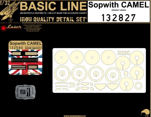 HGW 1/32 Sopwith Camel - Seat Belt & Mask Basic Line Set# 132827