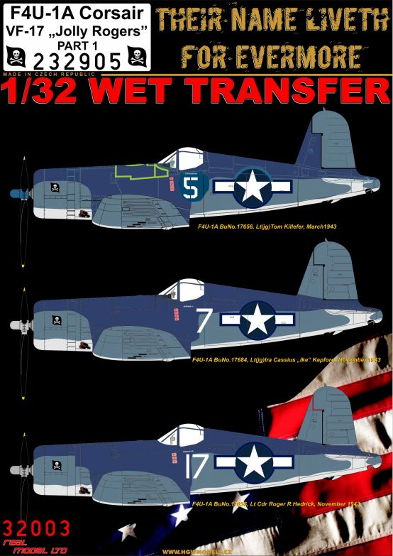 HGW 1/32 Vought F4U-1A Corsair Jolly Rogers # 232905