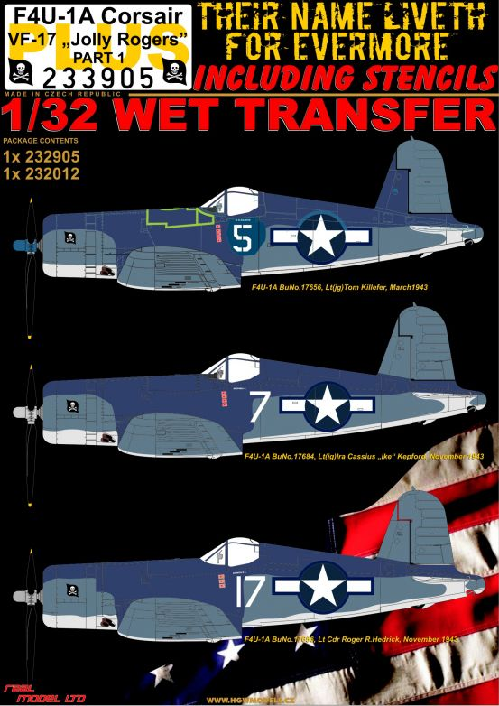 "HGW 1/32 Vought F4U-1A Corsair VF-17 ""Jolly Rogers"" # 233905"