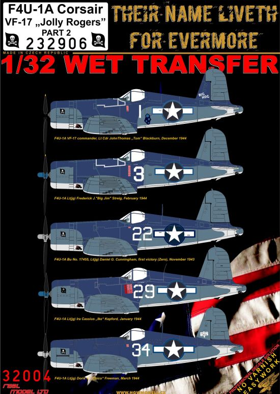 "HGW 1/32 Vought F4U-1A Corsair VF-17 ""Jolly Rogers"" - Part 2 # 232906"