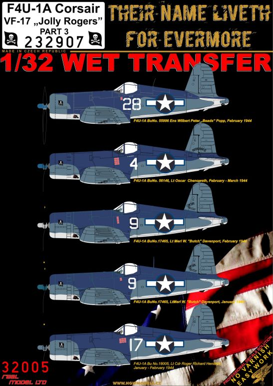 "HGW 1/32 Vought F4U-1A Corsair VF-17 ""Jolly Rogers"" - Part 3 # 232907"