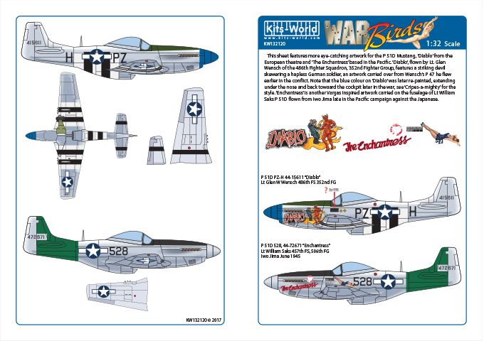 Kits-World 1/32 P-51D Mustang - 'Diablo' - 'The Enchantress' # 32120