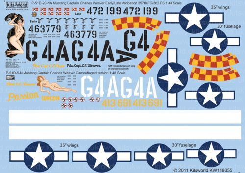 Kits-World 1/48 P-51D Mustang Cpt. Charles Weaver 357th FG # 480