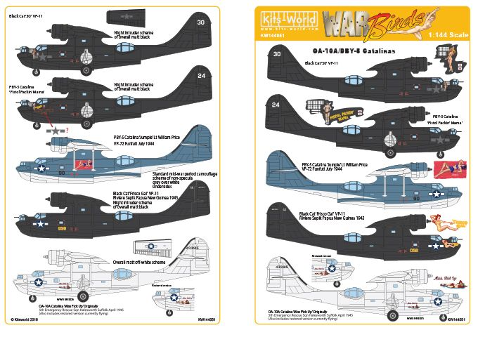 Kits-World Decals 1/144 Black Cat PBY-5 OA-10A Catalinas # 144051