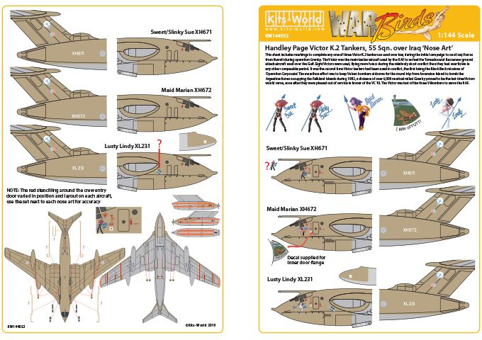 Kits-World Decals 1/144 Handley-Page Victors Over the Gulf Set 1 # 144052