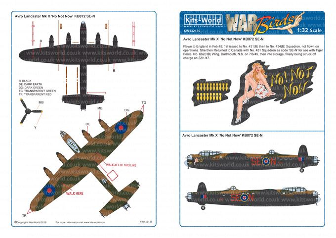 Kits-World Decals 1/32 Avro Lancaster Mk.X 'No Not Now' # 32139