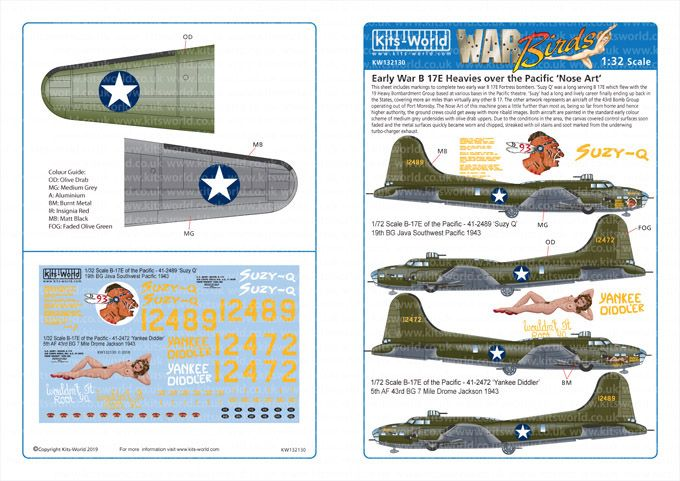Kits-World Decals 1/32 Boeing B-17E Flying Fortress # 32130