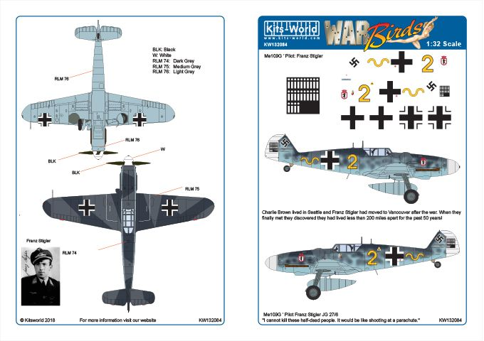 Kits-World Decals 1/32 Messerschmitt Bf-109G-6 JG/27/6 Pilot Franz Stigler # 32084