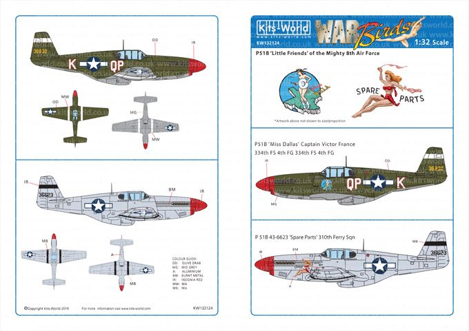 Kits-World Decals 1/32 North-American P-51B Mustangs # 32124