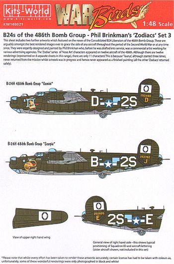 Kits-World Decals 1/48 B-24's of the 486th Bomb Group - Phil Brinkman's 'Zodiacs' Set 3 # 48021