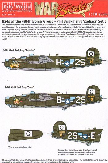 Kits-World Decals 1/48 B-24's of the 486th Bomb Group - Phil Brinkman's 'Zodiacs' Set 5 # 48022