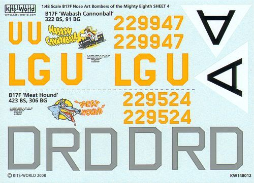 Kits-World Decals 1/48 Boeing B-17F Flying Fortress Mighty Eighth Air Force Nose Art Part 3 # 48012