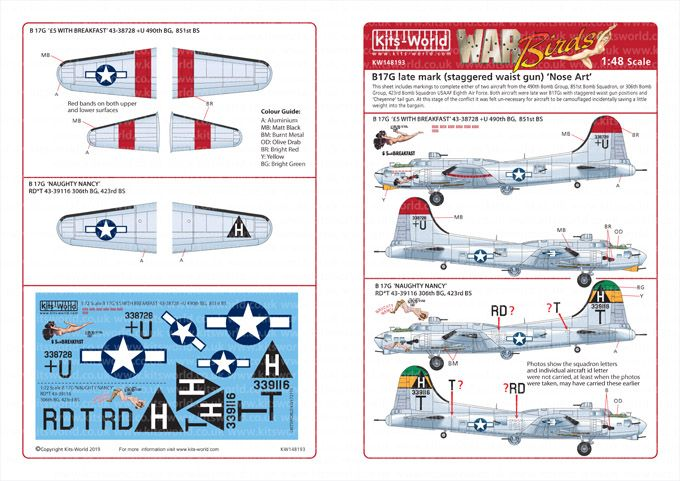 Kits-World Decals 1/48 Boeing B-17G Flying Fortress # 48193
