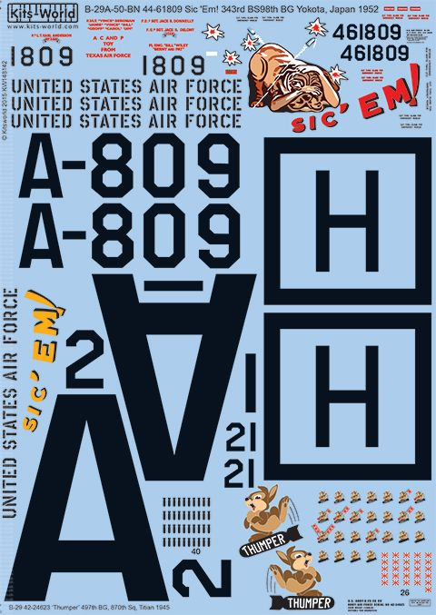 Kits-World Decals 1/48 Boeing B-29A Superfortress # 48142