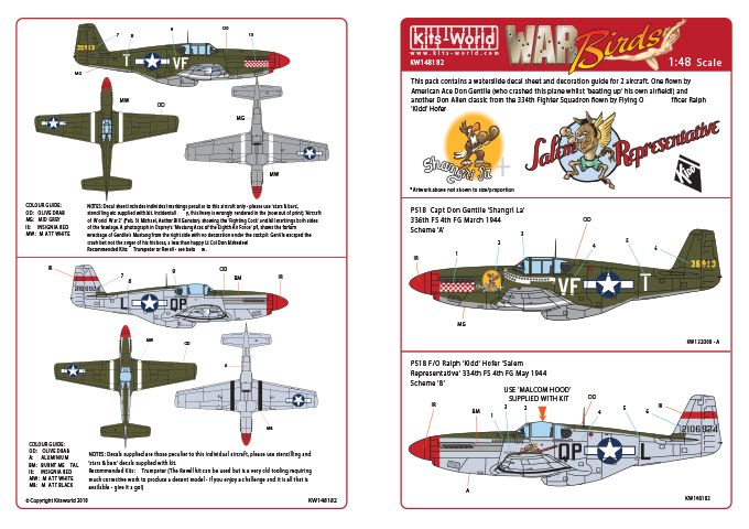 Kits-World Decals 1/48 North-American P-51B Mustang # 48182