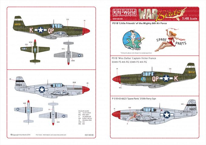 Kits-World Decals 1/48 North-American P-51B Mustangs # 48180