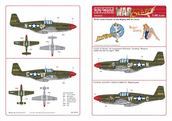 Kits-World Decals 1/48 North-American P-51B Mustangs # 48183
