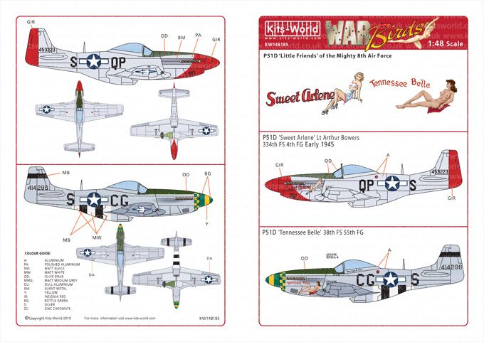Kits-World Decals 1/48 North-American P-51D Mustangs # 48185
