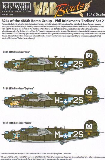 Kits-World Decals 1/72 B-24's of the 486th Bomb Group - Phil Brinkman's Zodiacs Set 2 # 72018